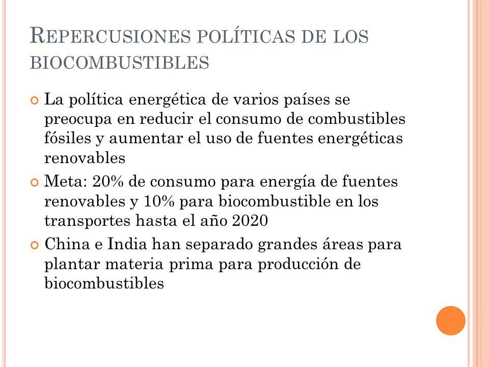 R EPERCUSIONES POLÍTICAS DE LOS BIOCOMBUSTIBLES La política energética de varios países se preocupa en reducir el consumo de combustibles fósiles y au