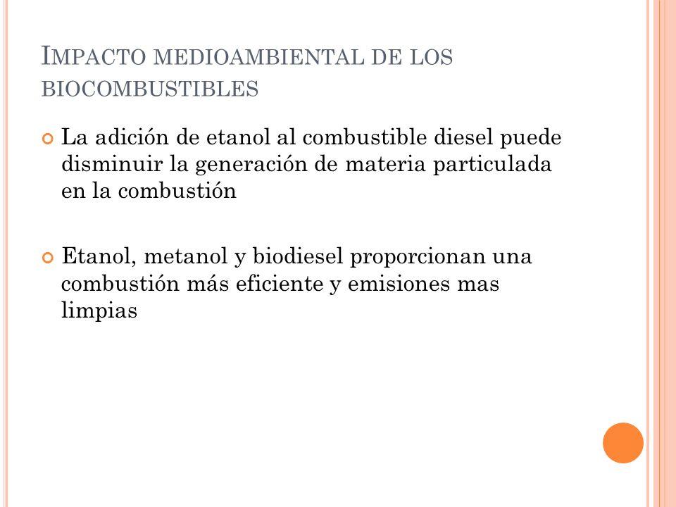 I MPACTO MEDIOAMBIENTAL DE LOS BIOCOMBUSTIBLES La adición de etanol al combustible diesel puede disminuir la generación de materia particulada en la c