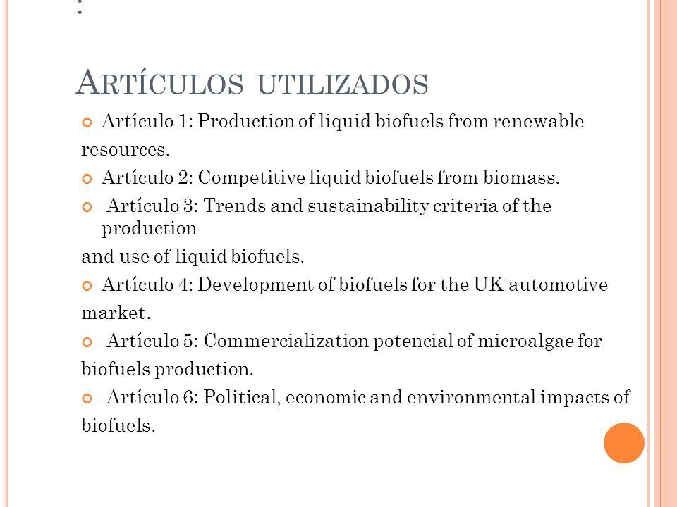 : A RTÍCULOS UTILIZADOS Artículo 1: Production of liquid biofuels from renewable resources. Artículo 2: Competitive liquid biofuels from biomass. Artí