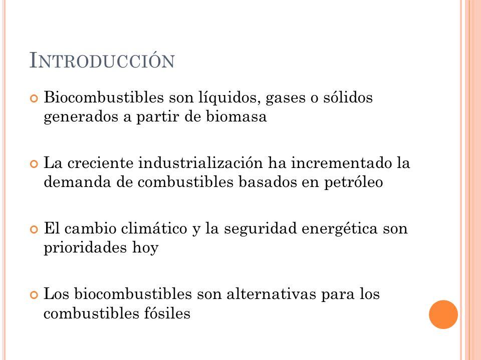 I NTRODUCCIÓN Biocombustibles son líquidos, gases o sólidos generados a partir de biomasa La creciente industrialización ha incrementado la demanda de