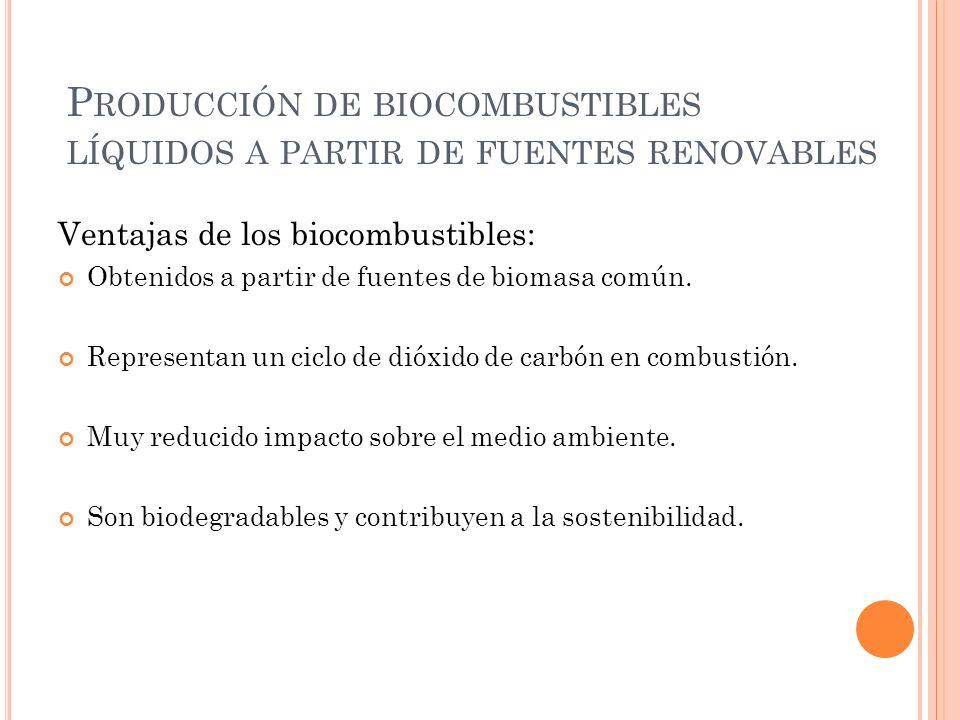 P RODUCCIÓN DE BIOCOMBUSTIBLES LÍQUIDOS A PARTIR DE FUENTES RENOVABLES Ventajas de los biocombustibles: Obtenidos a partir de fuentes de biomasa común