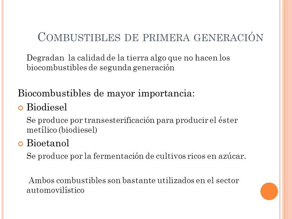 C OMBUSTIBLES DE PRIMERA GENERACIÓN Degradan la calidad de la tierra algo que no hacen los biocombustibles de segunda generación Biocombustibles de ma