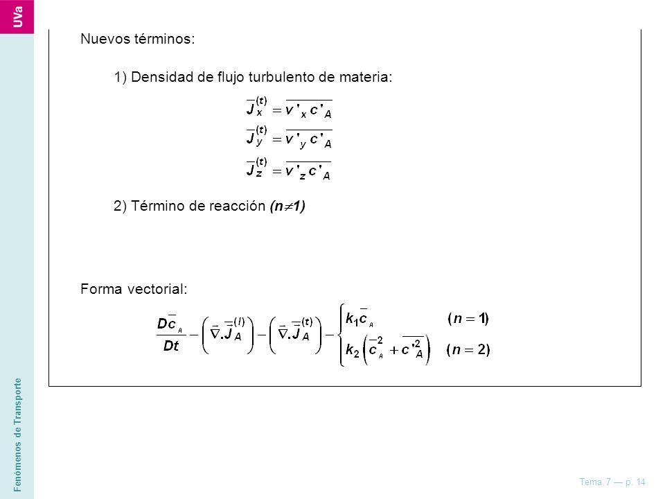 Fenómenos de Transporte Tema 7 p. 14 Nuevos términos: 1) Densidad de flujo turbulento de materia: 2) Término de reacción (n 1) Forma vectorial: