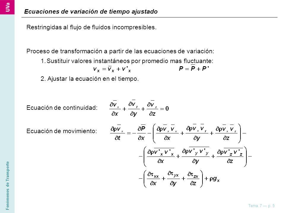 Fenómenos de Transporte Tema 7 p. 5 Restringidas al flujo de fluidos incompresibles. Proceso de transformación a partir de las ecuaciones de variación