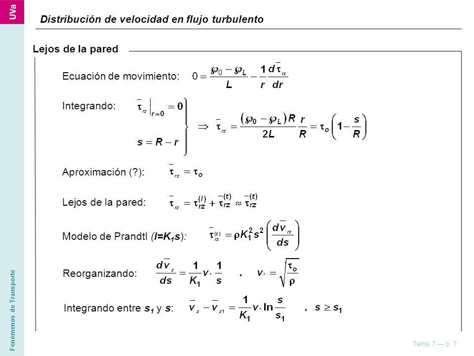 Fenómenos de Transporte Tema 7 p. 7 Distribución de velocidad en flujo turbulento Lejos de la pared Integrando: Aproximación (?): Lejos de la pared: M