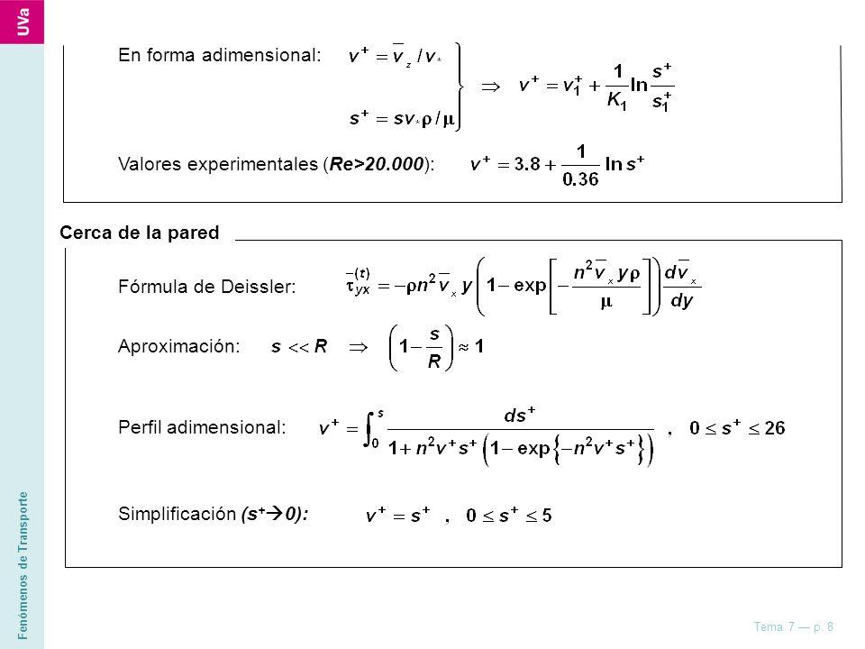 Fenómenos de Transporte Tema 7 p. 8 En forma adimensional: Valores experimentales (Re>20.000): Cerca de la pared Fórmula de Deissler: Aproximación: Pe