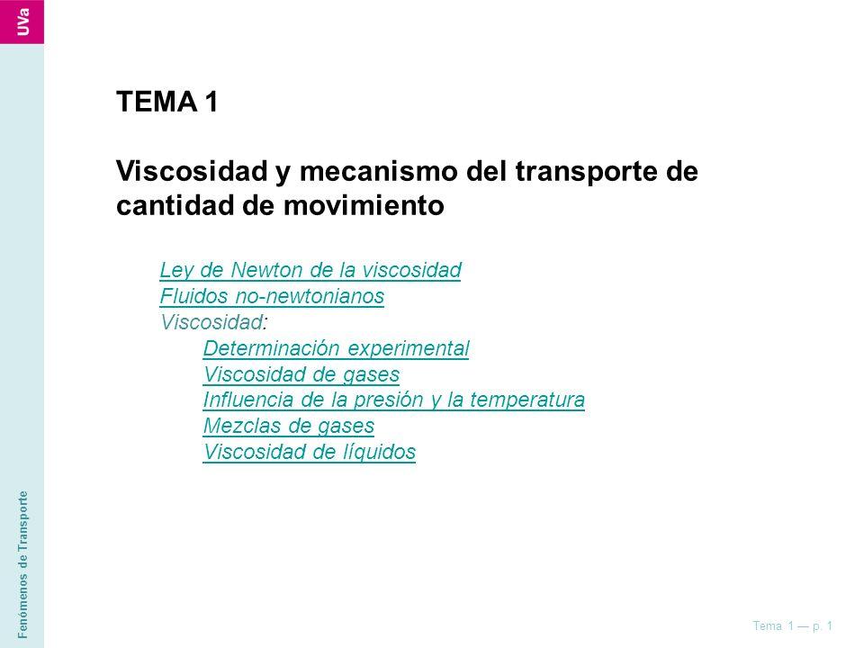 Fenómenos de Transporte Tema 1 p. 1 TEMA 1 Viscosidad y mecanismo del transporte de cantidad de movimiento Ley de Newton de la viscosidad Fluidos no-n