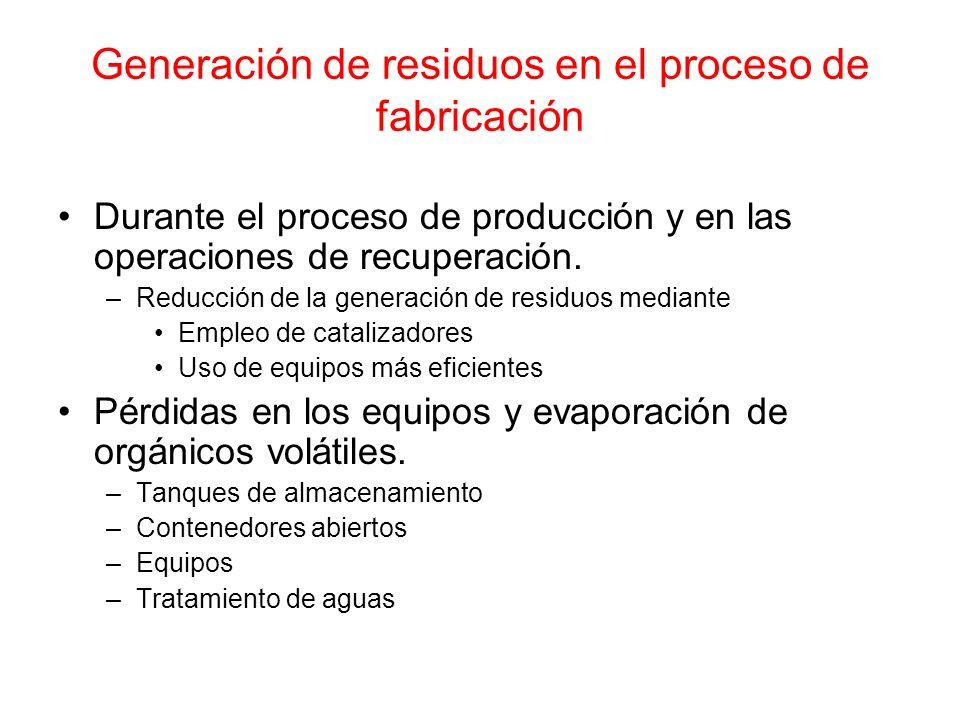 Generación de residuos en el proceso de fabricación Durante el proceso de producción y en las operaciones de recuperación. –Reducción de la generación