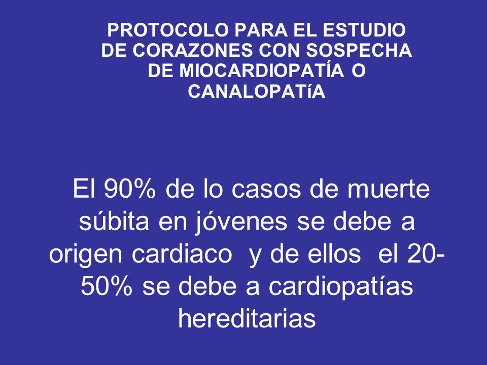 El 90% de lo casos de muerte súbita en jóvenes se debe a origen cardiaco y de ellos el 20- 50% se debe a cardiopatías hereditarias PROTOCOLO PARA EL ESTUDIO DE CORAZONES CON SOSPECHA DE MIOCARDIOPATÍA O CANALOPATíA
