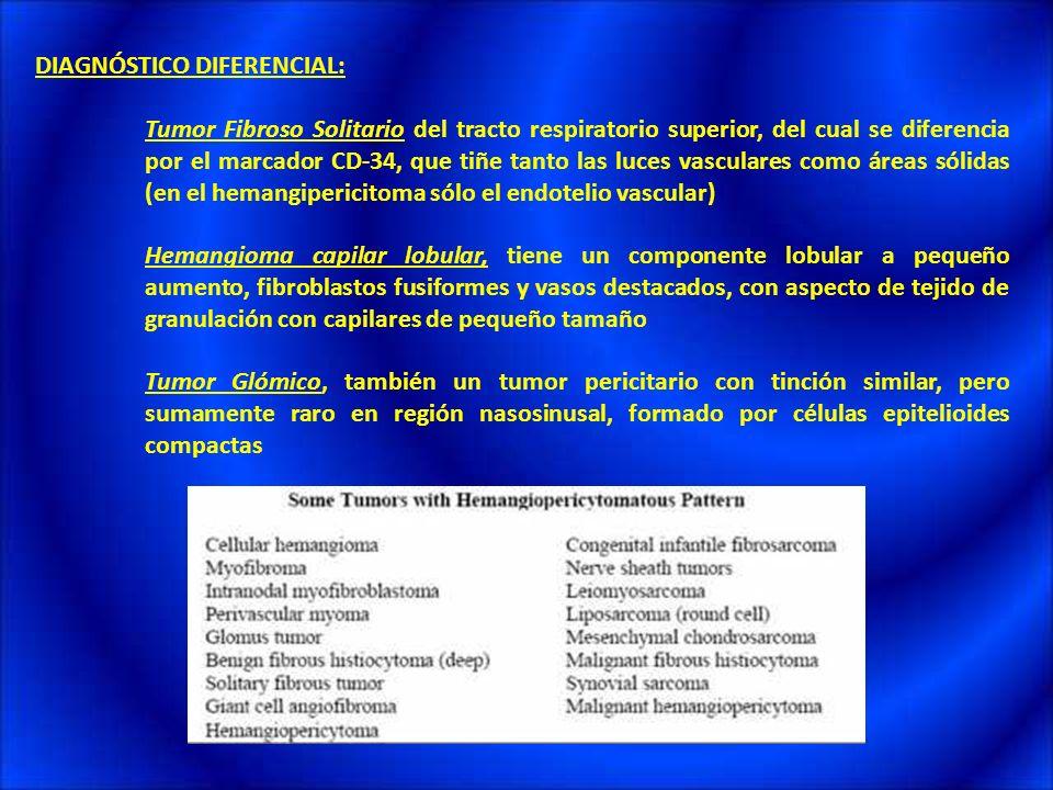 DIAGNÓSTICO DIFERENCIAL: Tumor Fibroso Solitario del tracto respiratorio superior, del cual se diferencia por el marcador CD-34, que tiñe tanto las lu