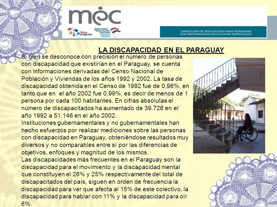 LA DISCAPACIDAD EN EL PARAGUAY Si bien se desconoce con precisión el número de personas con discapacidad que existirían en el Paraguay, se cuenta con