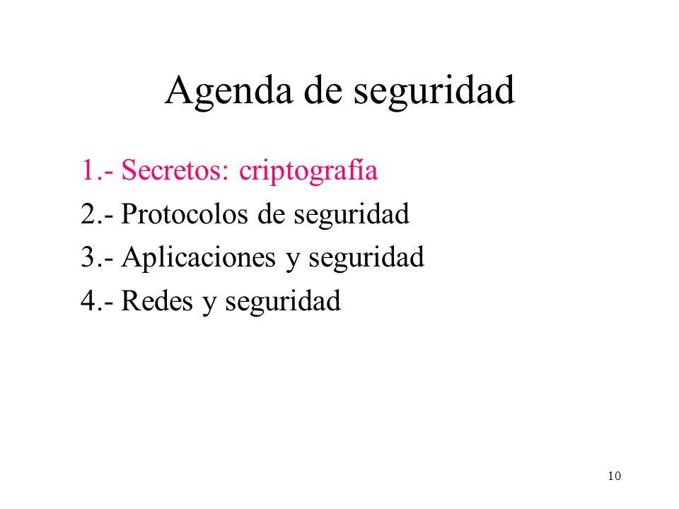 10 Agenda de seguridad 1.- Secretos: criptografía 2.- Protocolos de seguridad 3.- Aplicaciones y seguridad 4.- Redes y seguridad