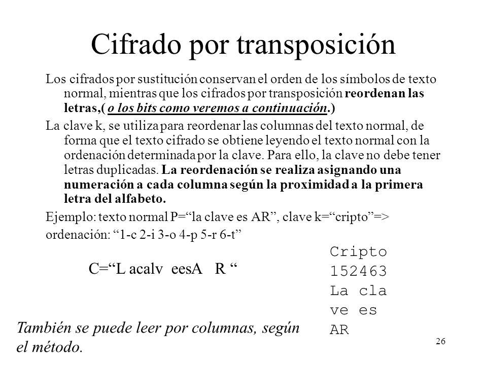 26 Cifrado por transposición Los cifrados por sustitución conservan el orden de los símbolos de texto normal, mientras que los cifrados por transposición reordenan las letras,( o los bits como veremos a continuación.) La clave k, se utiliza para reordenar las columnas del texto normal, de forma que el texto cifrado se obtiene leyendo el texto normal con la ordenación determinada por la clave.