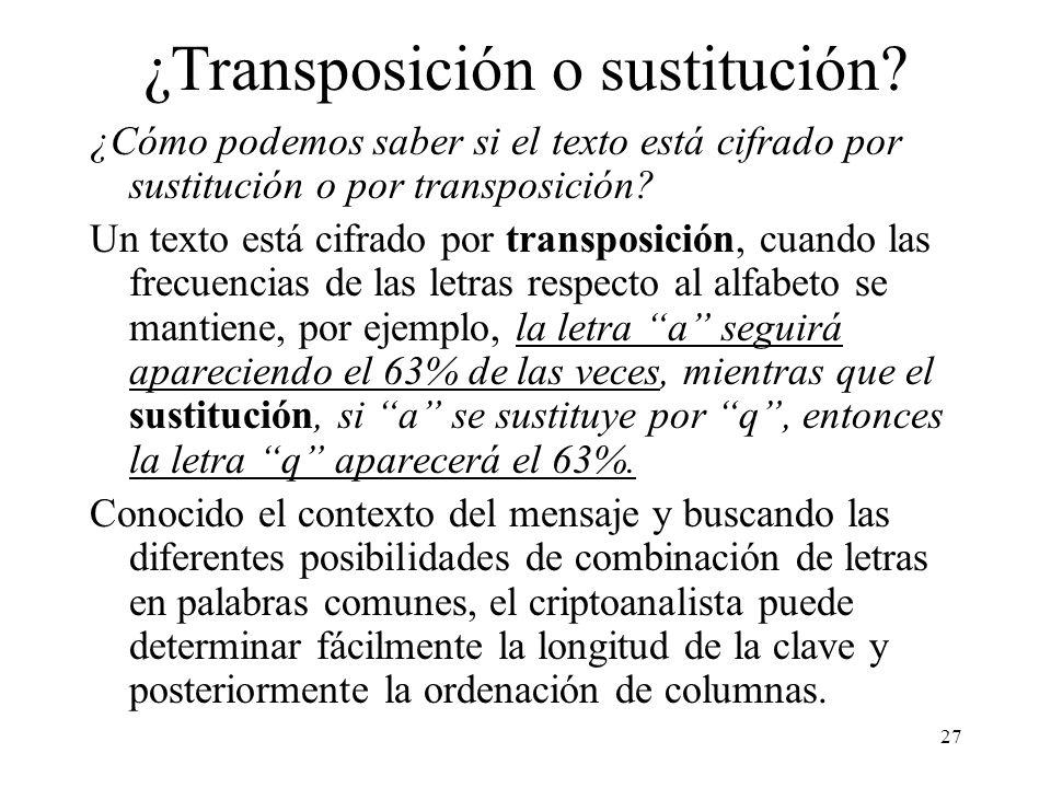 27 ¿Transposición o sustitución.