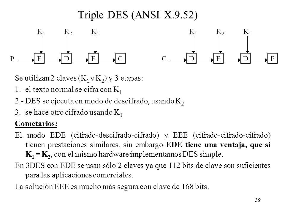39 Triple DES (ANSI X.9.52) Se utilizan 2 claves (K 1 y K 2 ) y 3 etapas: 1.- el texto normal se cifra con K 1 2.- DES se ejecuta en modo de descifrado, usando K 2 3.- se hace otro cifrado usando K 1 Cometarios: El modo EDE (cifrado-descifrado-cifrado) y EEE (cifrado-cifrado-cifrado) tienen prestaciones similares, sin embargo EDE tiene una ventaja, que si K 1 = K 2, con el mismo hardware implementamos DES simple.