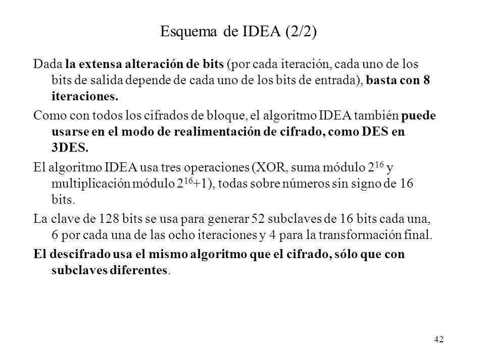 42 Esquema de IDEA (2/2) Dada la extensa alteración de bits (por cada iteración, cada uno de los bits de salida depende de cada uno de los bits de entrada), basta con 8 iteraciones.