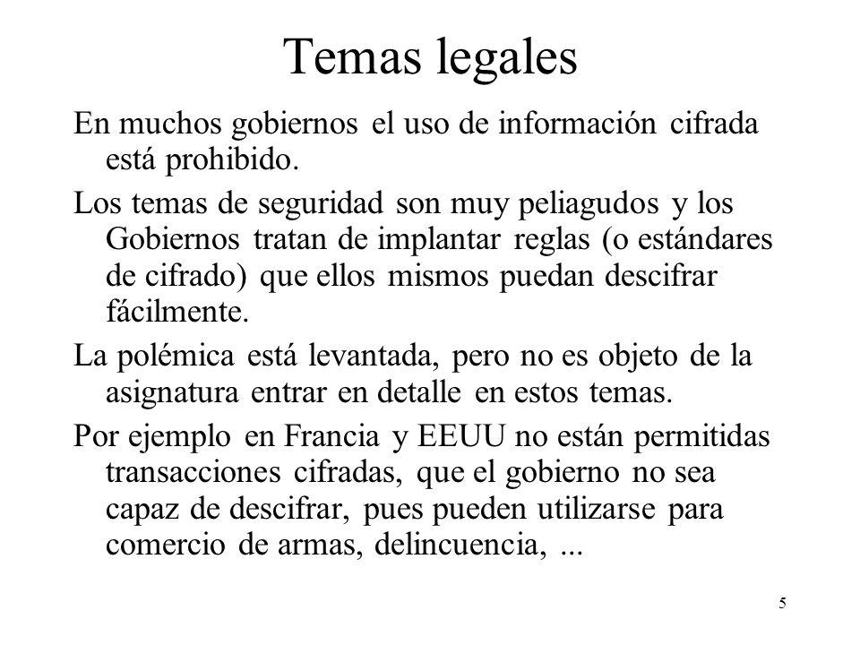 5 Temas legales En muchos gobiernos el uso de información cifrada está prohibido.