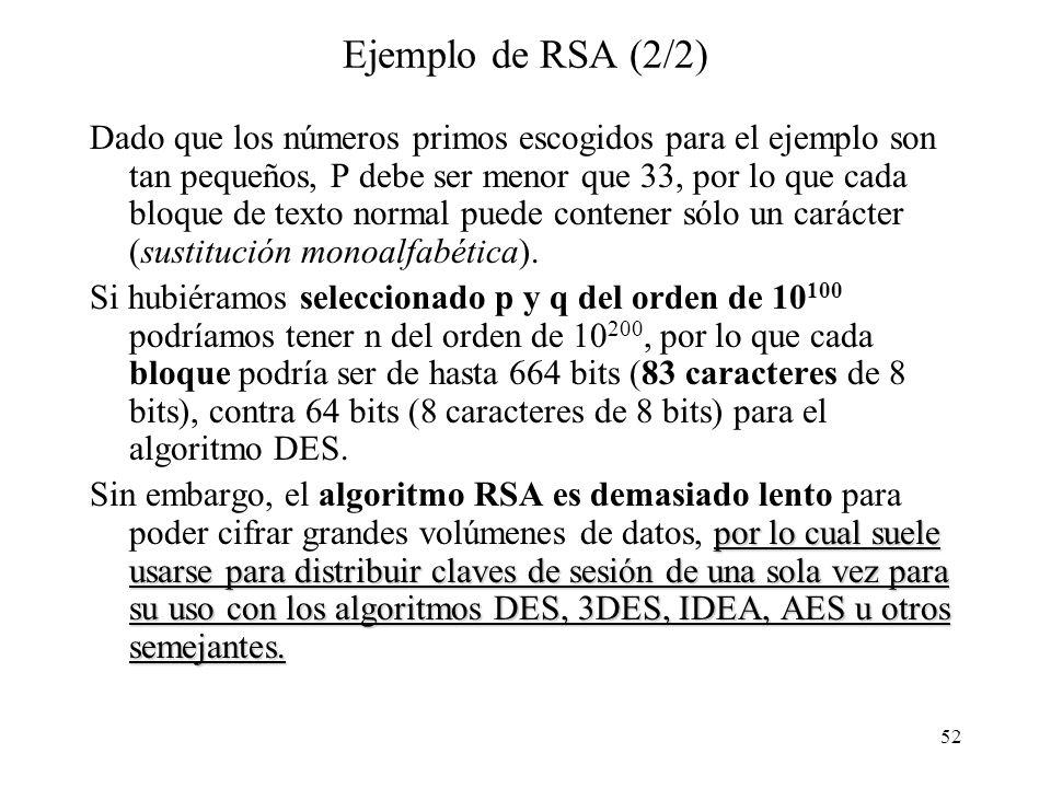 52 Ejemplo de RSA (2/2) Dado que los números primos escogidos para el ejemplo son tan pequeños, P debe ser menor que 33, por lo que cada bloque de texto normal puede contener sólo un carácter (sustitución monoalfabética).