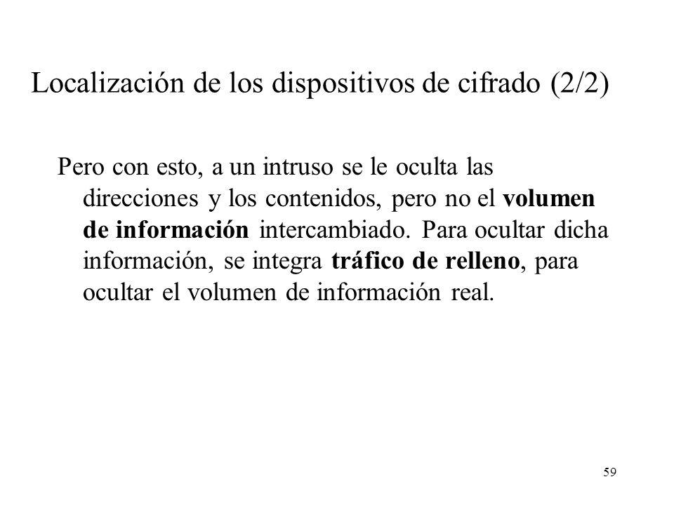 59 Localización de los dispositivos de cifrado (2/2) Pero con esto, a un intruso se le oculta las direcciones y los contenidos, pero no el volumen de información intercambiado.