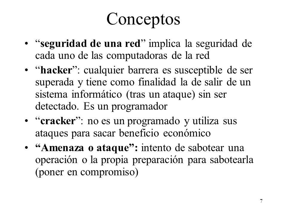 7 Conceptos seguridad de una red implica la seguridad de cada uno de las computadoras de la red hacker: cualquier barrera es susceptible de ser superada y tiene como finalidad la de salir de un sistema informático (tras un ataque) sin ser detectado.