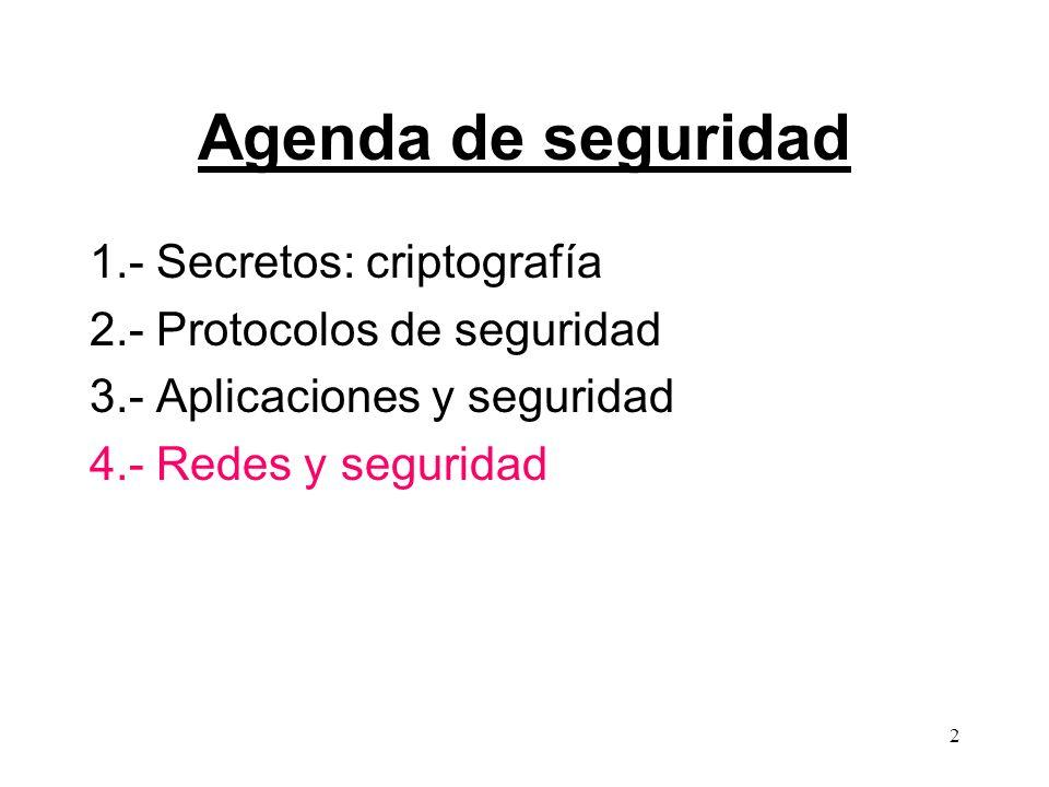 2 Agenda de seguridad 1.- Secretos: criptografía 2.- Protocolos de seguridad 3.- Aplicaciones y seguridad 4.- Redes y seguridad