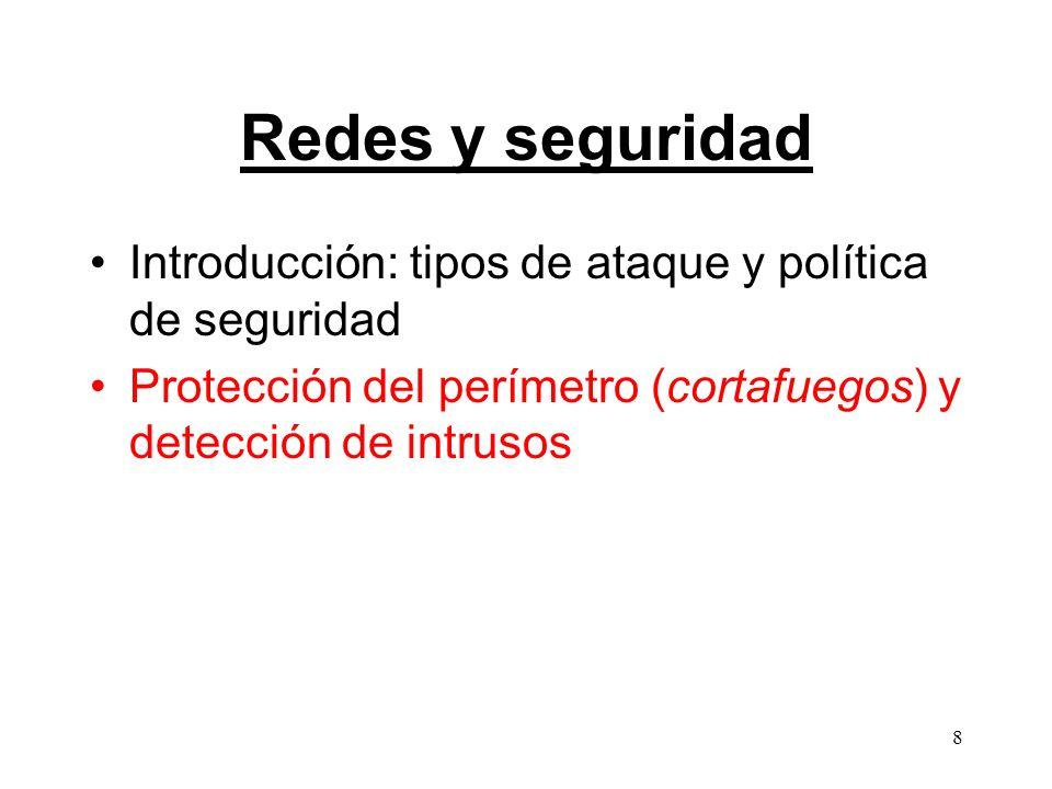8 Redes y seguridad Introducción: tipos de ataque y política de seguridad Protección del perímetro (cortafuegos) y detección de intrusos