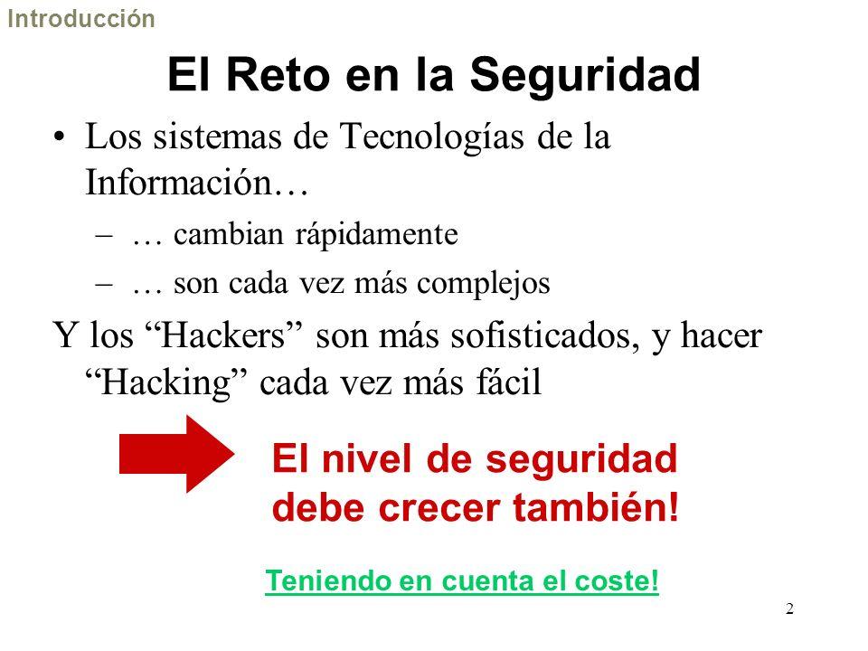 2 El Reto en la Seguridad Los sistemas de Tecnologías de la Información… – … cambian rápidamente – … son cada vez más complejos Y los Hackers son más