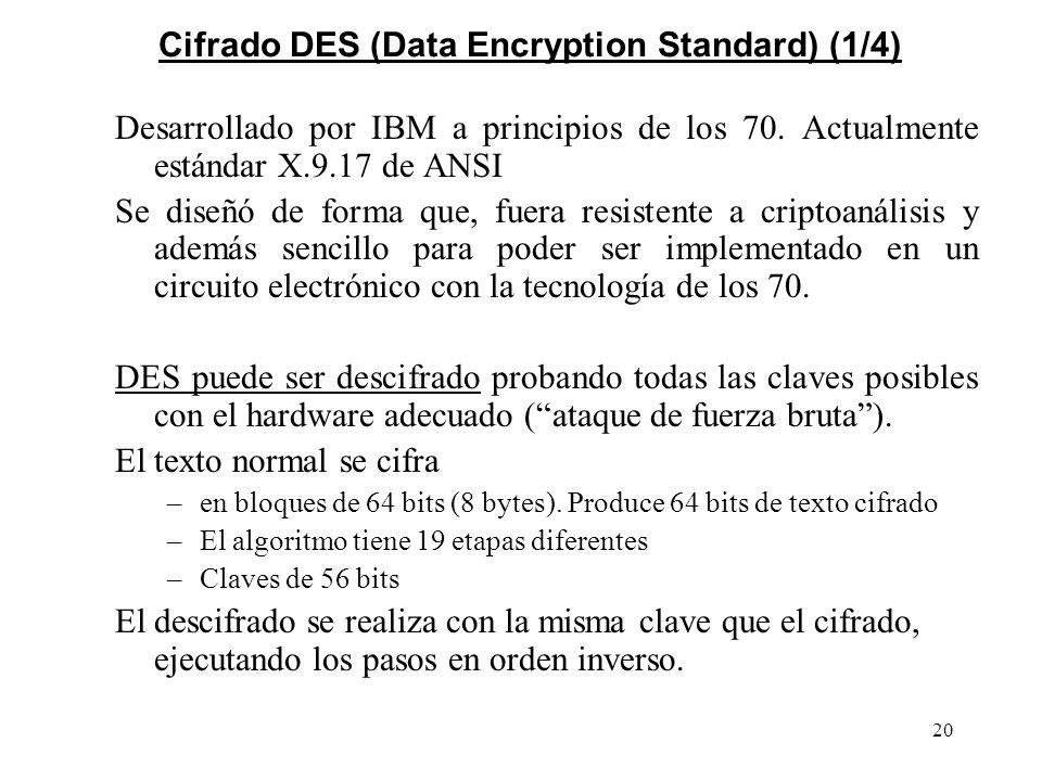 20 Cifrado DES (Data Encryption Standard) (1/4) Desarrollado por IBM a principios de los 70. Actualmente estándar X.9.17 de ANSI Se diseñó de forma qu