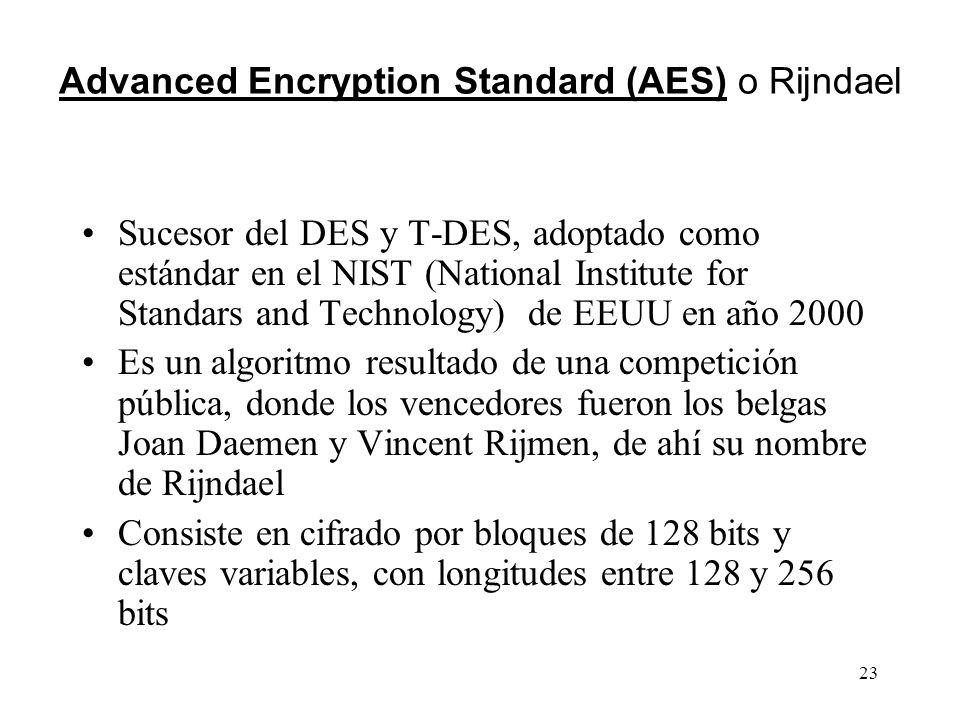 23 Advanced Encryption Standard (AES) o Rijndael Sucesor del DES y T-DES, adoptado como estándar en el NIST (National Institute for Standars and Techn