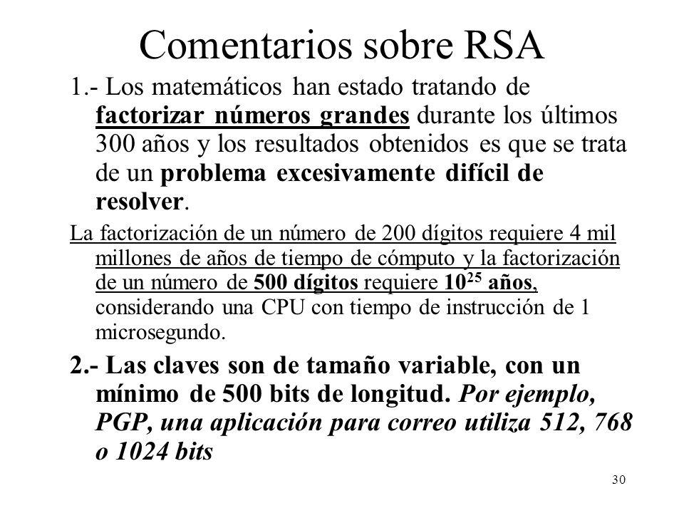30 Comentarios sobre RSA 1.- Los matemáticos han estado tratando de factorizar números grandes durante los últimos 300 años y los resultados obtenidos