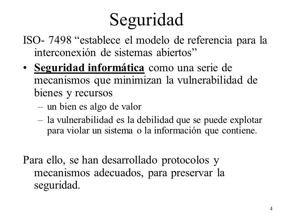 4 Seguridad ISO- 7498 establece el modelo de referencia para la interconexión de sistemas abiertos Seguridad informática como una serie de mecanismos