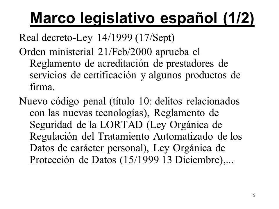 6 Marco legislativo español (1/2) Real decreto-Ley 14/1999 (17/Sept) Orden ministerial 21/Feb/2000 aprueba el Reglamento de acreditación de prestadore