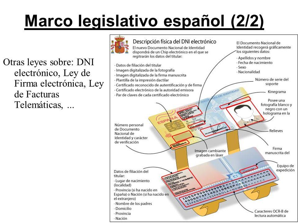7 Marco legislativo español (2/2) Otras leyes sobre: DNI electrónico, Ley de Firma electrónica, Ley de Facturas Telemáticas,...