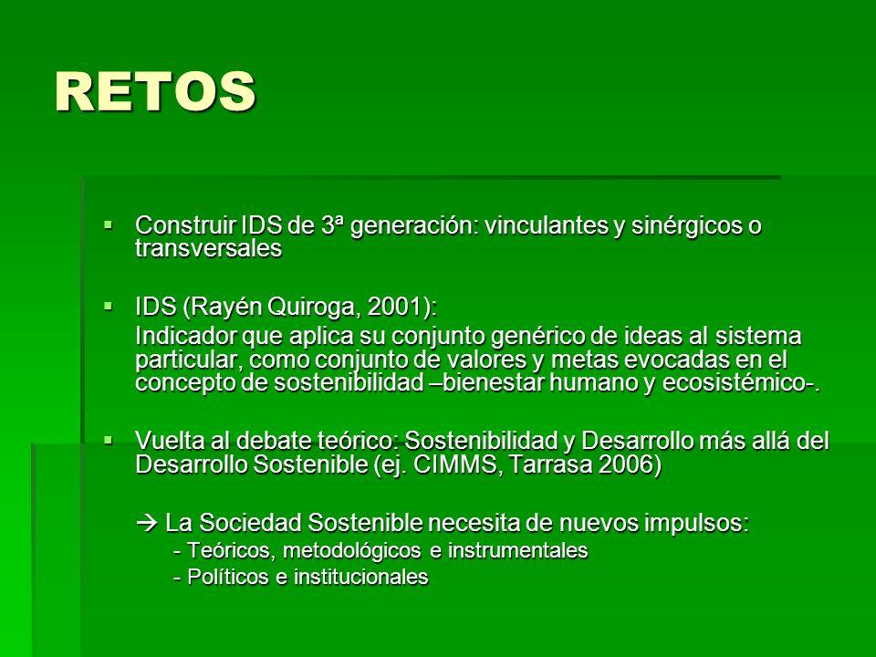 RETOS Construir IDS de 3ª generación: vinculantes y sinérgicos o transversales Construir IDS de 3ª generación: vinculantes y sinérgicos o transversale