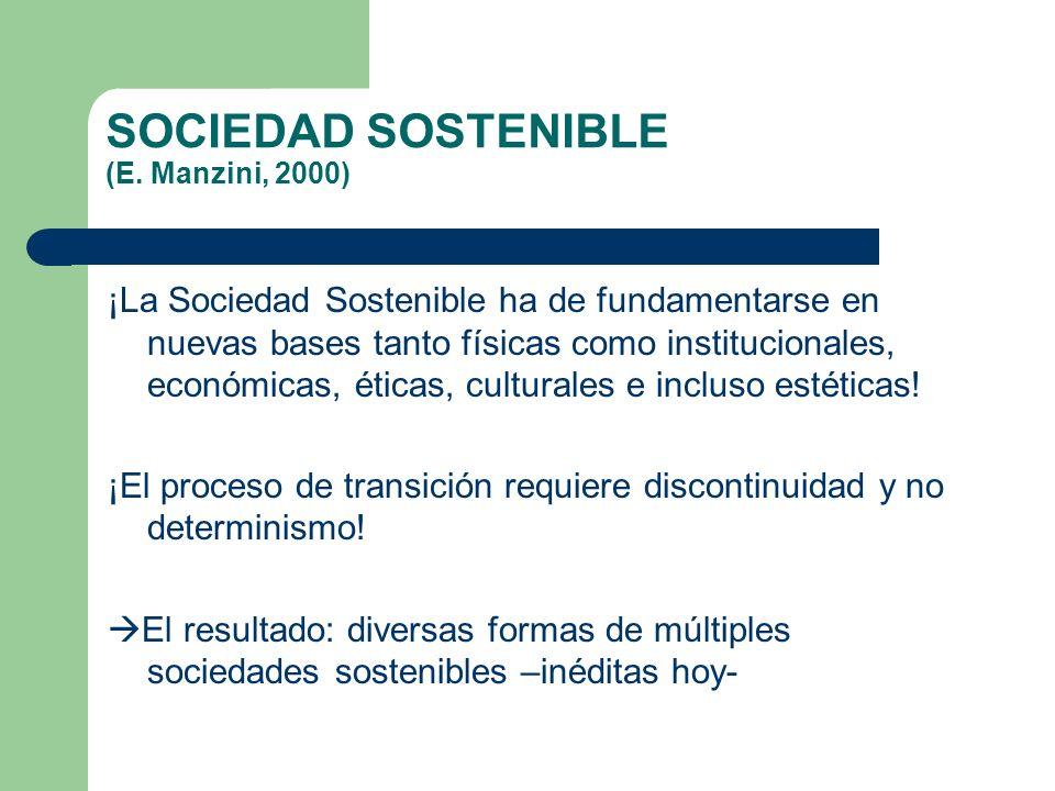 SOCIEDAD SOSTENIBLE (E. Manzini, 2000) ¡La Sociedad Sostenible ha de fundamentarse en nuevas bases tanto físicas como institucionales, económicas, éti