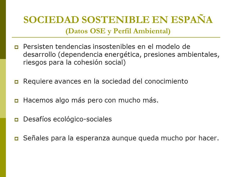SOCIEDAD SOSTENIBLE EN ESPAÑA (Datos OSE y Perfil Ambiental) Persisten tendencias insostenibles en el modelo de desarrollo (dependencia energética, pr