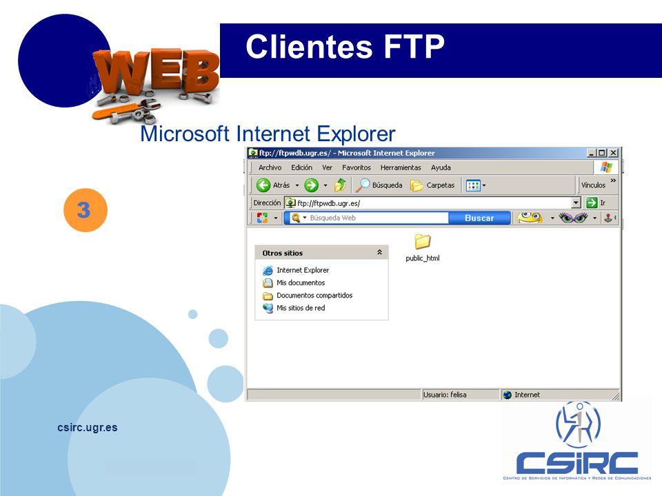 www.company.com csirc.ugr.es 3 Microsoft Internet Explorer Clientes FTP