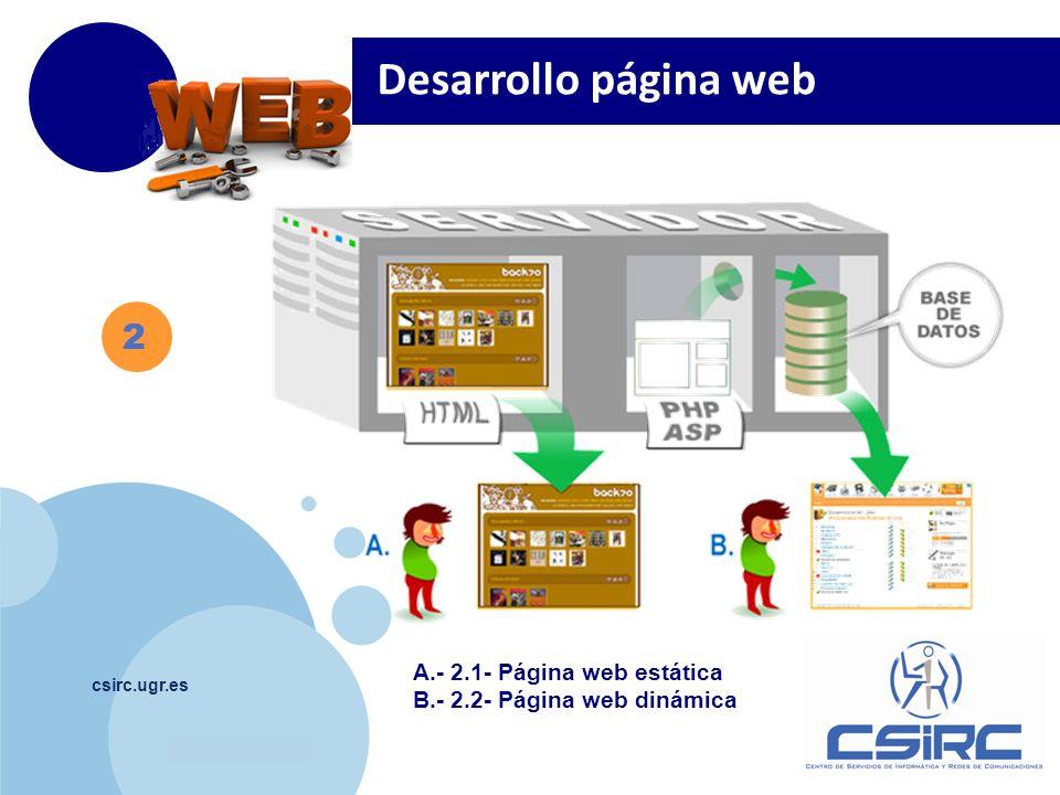 www.company.com csirc.ugr.es Publicar la página: ftp://ftpweb.ugr.es ftp://ftpweb.ugr.es Visualizar la página: http://www.ugr.es/~nombrecorreo, o http://www.ugr.es/local/nombrecorreo http://www.ugr.es/~nombrecorreo http://www.ugr.es/local/nombrecorreo D esarrollo página web -> estática 2 2.1 Programas necesarios: -> Cliente Ftp -> Editor de páginas web Información Web: http://csirc.ugr.es/informatica/ServiciosCorporativos/PaginaWeb/ publicacion.html