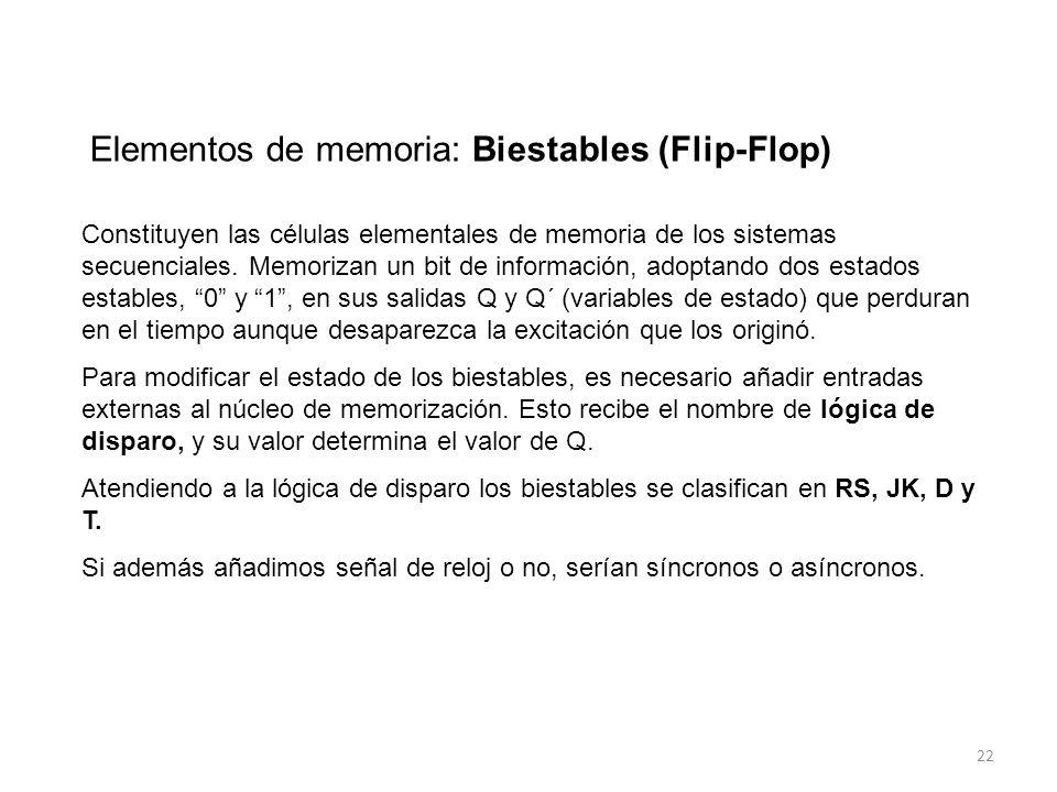 22 Elementos de memoria: Biestables (Flip-Flop) Constituyen las células elementales de memoria de los sistemas secuenciales.
