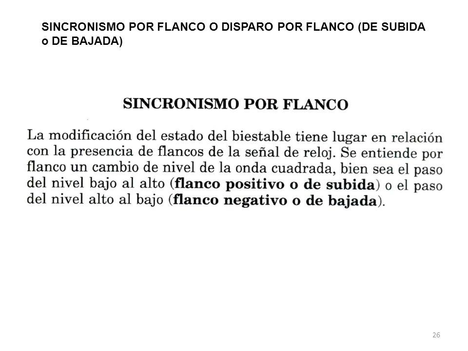 26 SINCRONISMO POR FLANCO O DISPARO POR FLANCO (DE SUBIDA o DE BAJADA)