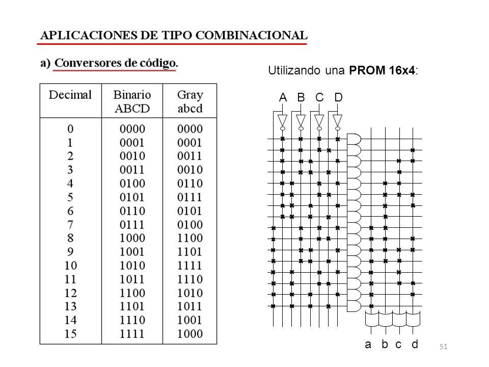 a b c d A B C D Utilizando una PROM 16x4: 51