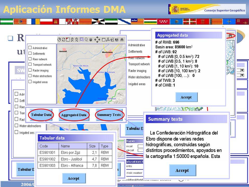Consejo Superior Geográfico IDEE 2006/03/24 GTIDEE en Pamplona 10 Aplicación Informes DMA Realizar informes en forma dinámica utilizando servicios IDE Ebro river basin district Adour-Garonne river basin district SWB x | SWPI x (OPTIONAL) Positioning over interest area
