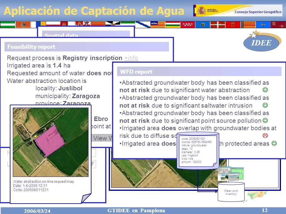 Consejo Superior Geográfico IDEE 2006/03/24 GTIDEE en Pamplona 12 Aplicación de Captación de Agua Groundwater Spatial data 0,25 Add abstraction 10 Add irrigation area NatureDepthDiam Administrative Settlements River network Transport network Raster imaging Water abstractions Irrigated areas Water use Request data Irrigation Amount m 3 Kind of crop Rice Input spatial data No.