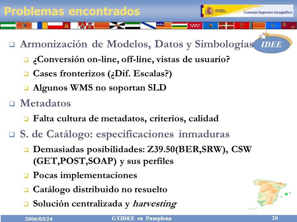 Consejo Superior Geográfico IDEE 2006/03/24 GTIDEE en Pamplona 20 Problemas encontrados Armonización de Modelos, Datos y Simbologías ¿Conversión on-line, off-line, vistas de usuario.