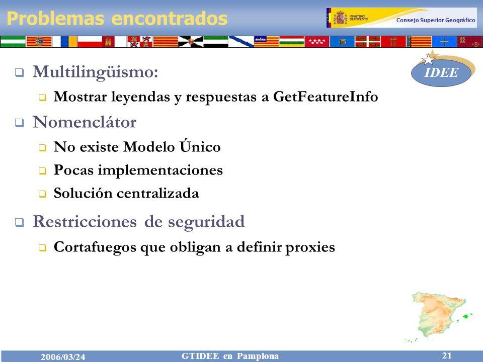 Consejo Superior Geográfico IDEE 2006/03/24 GTIDEE en Pamplona 21 Problemas encontrados Multilingüismo: Mostrar leyendas y respuestas a GetFeatureInfo Nomenclátor No existe Modelo Único Pocas implementaciones Solución centralizada Restricciones de seguridad Cortafuegos que obligan a definir proxies