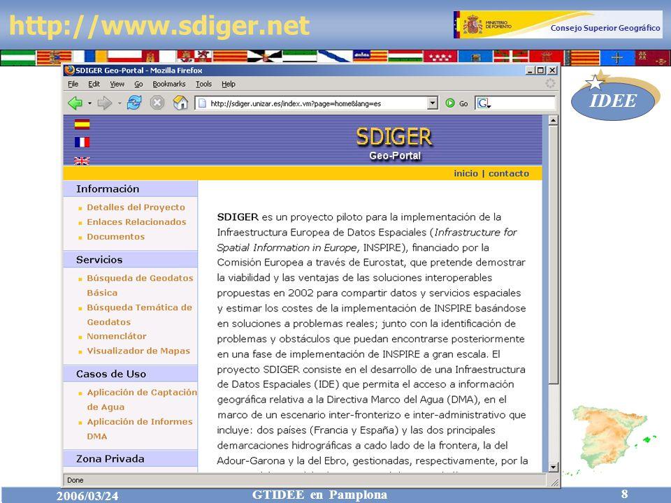 Consejo Superior Geográfico IDEE 2006/03/24 GTIDEE en Pamplona 8 http://www.sdiger.net