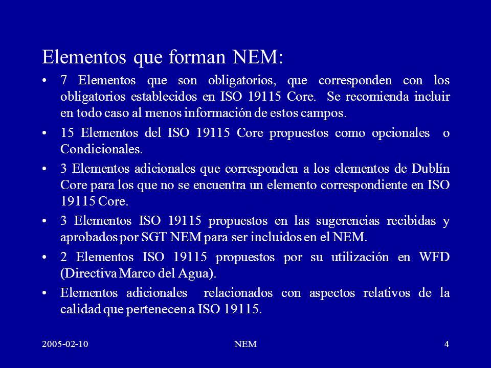 2005-02-10NEM4 Elementos que forman NEM: 7 Elementos que son obligatorios, que corresponden con los obligatorios establecidos en ISO 19115 Core.