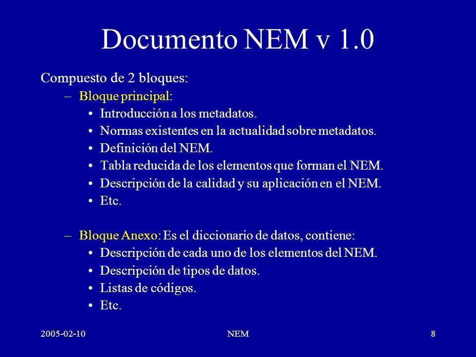 2005-02-10NEM9 NEM Programa Circulación en SGT NEM Enero-10 En Geoportal IDEE Febrero-21 20 días comentarios Marzo-21 –Ítem (nº, ruta), propuesta, justificación + Añadir ejemplos completos NEM v1.0 consolidado Abril-04