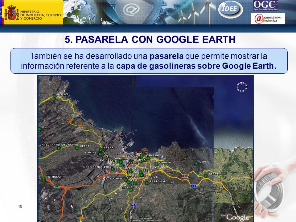 Subdirección General de Tecnologías de la Información y de las Comunicaciones 10 5. PASARELA CON GOOGLE EARTH También se ha desarrollado una pasarela