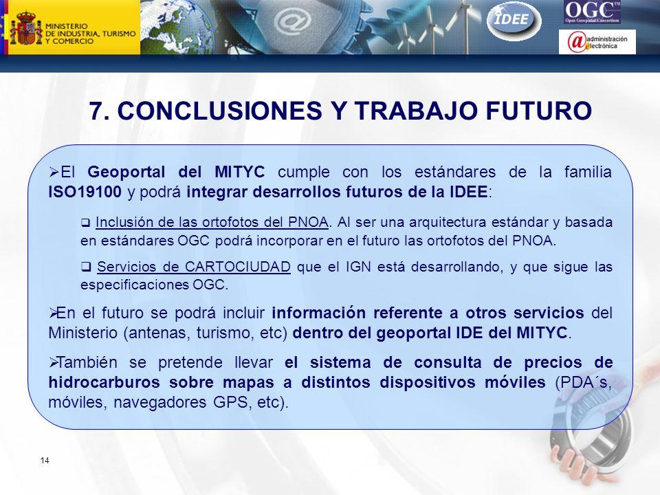 Subdirección General de Tecnologías de la Información y de las Comunicaciones 14 7. CONCLUSIONES Y TRABAJO FUTURO El Geoportal del MITYC cumple con lo